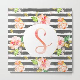 S botanical monogram. Letter initial with colorful flowers and gray stripes Metal Print