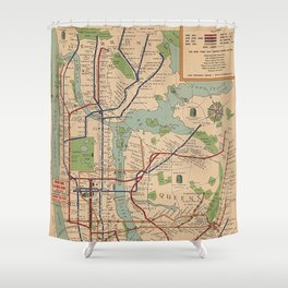 New York City Metro Subway System Map 1954 Shower Curtain