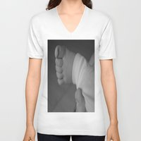 feet V-neck T-shirts featuring Feet by EnelBosqueEncantado