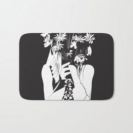 Flower Junkie - Black and White Digital Drawing of Girl holding Flowers Bath Mat