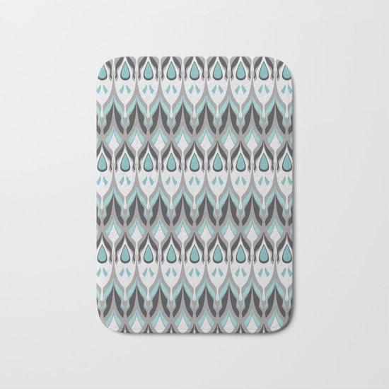 Abstract grey blue zigzag . Bath Mat