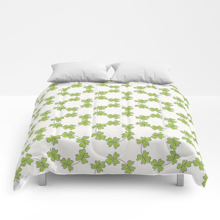 four-leaf clover leaves pattern Comforters