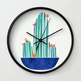 Spring Cactus Blossoms with Indigo Terra Cotta Wall Clock