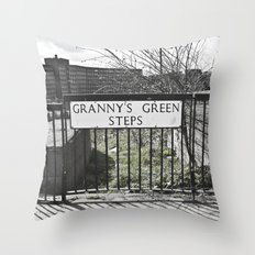 Granny's Green Steps Throw Pillow