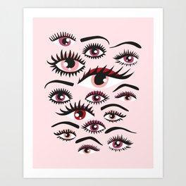 crazy lashes shiny eyes Art Print