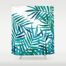 Watercolor Palm Leaves on White Shower Curtain