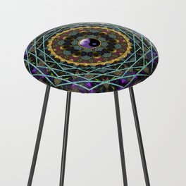 Purple Yin Yang Sacred Geometry Fractals Counter Stool
