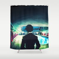 moriarty Shower Curtains featuring The Pool by Alice X. Zhang