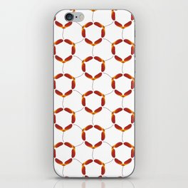 Red Japanese Maple Tree Samara Rounded Hex Pattern iPhone Skin