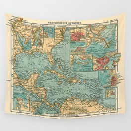 Vintage Map of The Caribbean (1906) Wall Tapestry