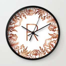 Letter R - Faux Rose Gold Glitter Flowers Wall Clock