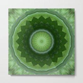 Mandala green Blossom Metal Print