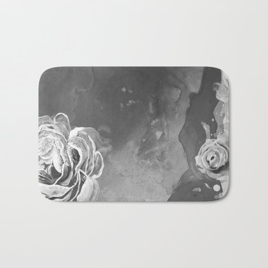 Mad Lucy's Golden Roses. Yellow Roses and Galaxy Blue in Black and White Shadow Bath Mat