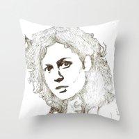 ripley Throw Pillows featuring Ellen Ripley sketch- Sigourney Weaver- Alien by Robin Stevens