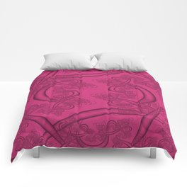 Pink Yarrow Fractal Comforters