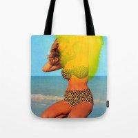 bikini Tote Bags featuring Untitled (Bikini) by Charles Wilkin