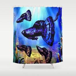 Blue & Purple Dragon Fancy Guppy Shower Curtain