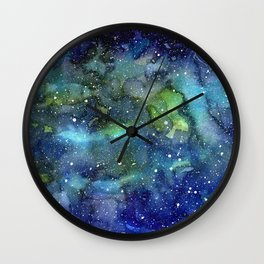 Space Galaxy Watercolor Nebula Painting Wall Clock