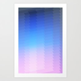 blue pink ombre color gradient abstract pattern Art Print