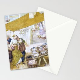 12,000pixel-500dpi - Myles Birket Foster - The fish market on the steps of the Rialto Bridge Stationery Cards