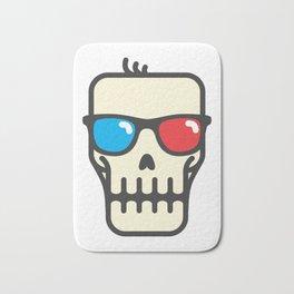 Line skull with 3D glasses Bath Mat