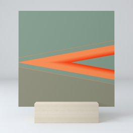 Army Green Orange Stripe Mini Art Print