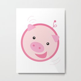Picky Pinky Piggy Metal Print