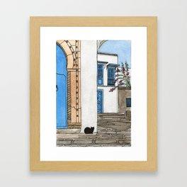Blue Door, Black Cat Framed Art Print