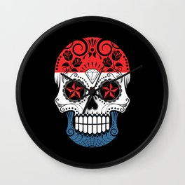 Sugar Skull with Roses and Flag of The Netherlands Wall Clock