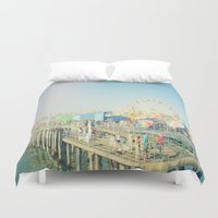 santa monica Duvet Covers featuring Santa Monica by SoCal Chic Photography