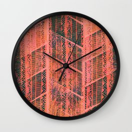 Forest and Coral Boho Pattern Wall Clock