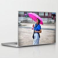 korean Laptop & iPad Skins featuring Korean Woman in the Rain by Anthony M. Davis