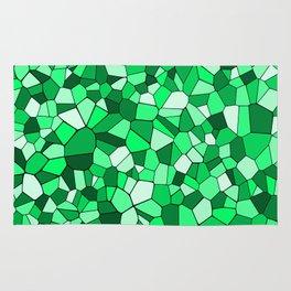 Monochrome Green Mosaic Pattern Rug