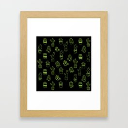 Green Cactus in pots seamless pattern on black background Framed Art Print