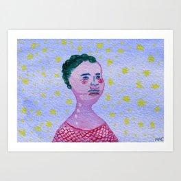 Her Falling Face Art Print