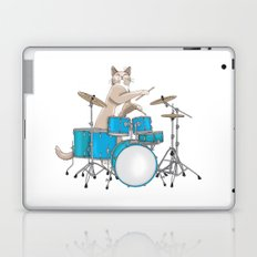Cat Playing Drums - Blue Laptop & iPad Skin