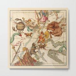 Star Atlas Vintage Constellation Map Ignace Gaston Pardies Plate 5 Metal Print
