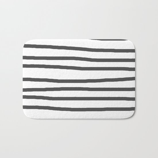 Simply Drawn Stripes in Simply Gray Bath Mat