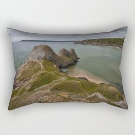 Three Cliffs Bay and the Great Tor Rectangular Pillow