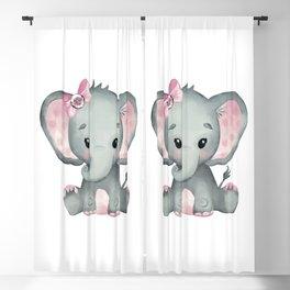 Cute Baby Elephant Blackout Curtain