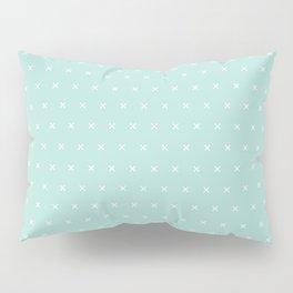Aqua blue and White cross sign pattern Pillow Sham