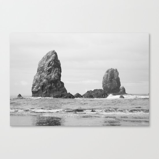 Sea Stacks (Cannon Beach, Oregon) - Black & White Canvas Print