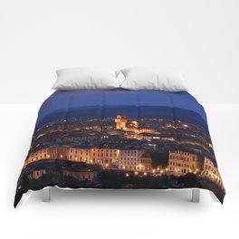 Panorama of Duomo Santa Maria Del Fiore, tower of Palazzo Vecchio. Comforters