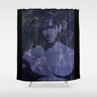leather Shower Curtains featuring Leather by Azure Cricket
