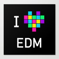 edm Canvas Prints featuring I heart EDM by ihearteverything