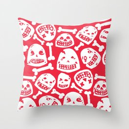 Skulls Pattern 1 (Red) Throw Pillow