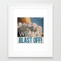 weezer Framed Art Prints featuring 7 inch series: WEEZER - BLAST OFF! by Gimetzco's Damaged Goods