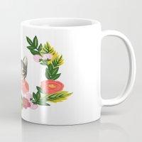 leah flores Mugs featuring Scout con Flores by Leah Romero