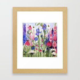 Colorful Garden Flower Acrylic Painting Framed Art Print