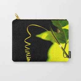 Spring! Green Leaf On A Black Background #decor #society6 Carry-All Pouch